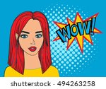 pop art sexy woman with wow... | Shutterstock .eps vector #494263258