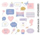 cute hand drawn speech bubbles... | Shutterstock .eps vector #494268880