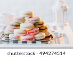 colorful french macaroons ... | Shutterstock . vector #494274514
