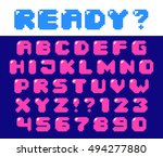 pixel retro font with hotspot... | Shutterstock .eps vector #494277880