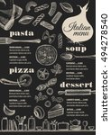 italian menu placemat food... | Shutterstock .eps vector #494278540