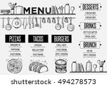 cafe menu food placemat... | Shutterstock .eps vector #494278573