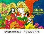 illustration of goddess lakshmi ... | Shutterstock .eps vector #494279776