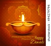 illustration of burning diya on ... | Shutterstock .eps vector #494279794