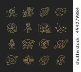 space icons made in modern line ...