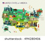 map of the united states of... | Shutterstock .eps vector #494280406