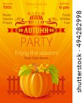 fall party poster. vector... | Shutterstock .eps vector #494282998