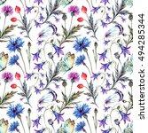 watercolor seamless pattern of... | Shutterstock . vector #494285344