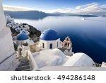 oia town on santorini island ... | Shutterstock . vector #494286148
