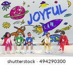 kids imagination space rocket... | Shutterstock . vector #494290300