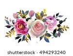 Watercolor Floral Bouquet Pink...