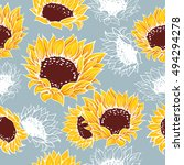 decorative yellow sunflowers... | Shutterstock .eps vector #494294278