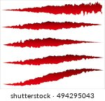 5 different claw scratches ... | Shutterstock .eps vector #494295043