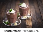 chocolate pudding with whipped... | Shutterstock . vector #494301676