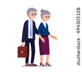senior age business man and... | Shutterstock .eps vector #494305108