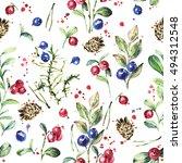 forest botanical pattern ... | Shutterstock . vector #494312548