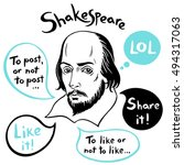 shakespeare portrait with... | Shutterstock .eps vector #494317063