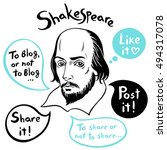shakespeare portrait with... | Shutterstock .eps vector #494317078