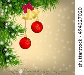 golden christmas and new year... | Shutterstock .eps vector #494327020