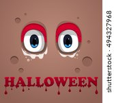monster eyes . halloween text... | Shutterstock .eps vector #494327968