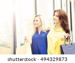 pretty women with a shopping... | Shutterstock . vector #494329873