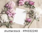 Mockup With Card And Flowers