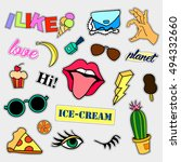 fashion patch badges. big set.... | Shutterstock .eps vector #494332660