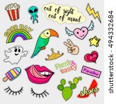 fashion patch badges. big set.... | Shutterstock .eps vector #494332684