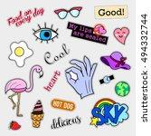 fashion patch badges. big set.... | Shutterstock .eps vector #494332744