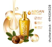 argan oil serum skin care... | Shutterstock .eps vector #494334328