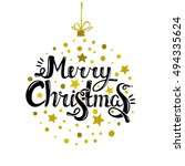 merry christmas   quote in... | Shutterstock .eps vector #494335624