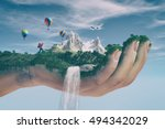 conceptual image of a mountain... | Shutterstock . vector #494342029