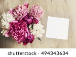 mockup with card and peony... | Shutterstock . vector #494343634