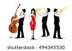 jazz band with singer ... | Shutterstock .eps vector #494345530