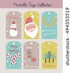 merry christmas set of greeting ... | Shutterstock .eps vector #494353519
