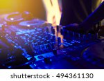 dj mixing tracks on a mixer in...   Shutterstock . vector #494361130
