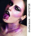 purple girl   Shutterstock . vector #494373718