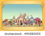 poster with cartoon characters... | Shutterstock .eps vector #494383453