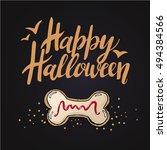 sketch of  cute funny halloween ... | Shutterstock .eps vector #494384566