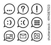 black speech bubbles with icons.... | Shutterstock .eps vector #494387023