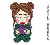 girl and tea vector set. autumn ...   Shutterstock .eps vector #494390788
