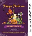halloween party. vector... | Shutterstock .eps vector #494393563