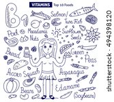vitamin b1 food vector set.... | Shutterstock .eps vector #494398120