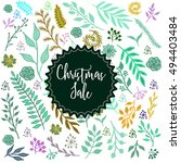 christmas sale label on winter... | Shutterstock .eps vector #494403484