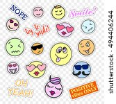 fashion patch badges. smiles...   Shutterstock .eps vector #494406244
