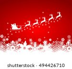 santa claus in sled rides in... | Shutterstock .eps vector #494426710
