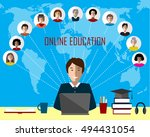 tutor and his online group on... | Shutterstock .eps vector #494431054