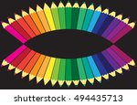 colored pencils background | Shutterstock .eps vector #494435713