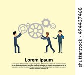 businesspeople push cogwheel... | Shutterstock .eps vector #494437468