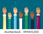 raised up hands diversity... | Shutterstock .eps vector #494441203